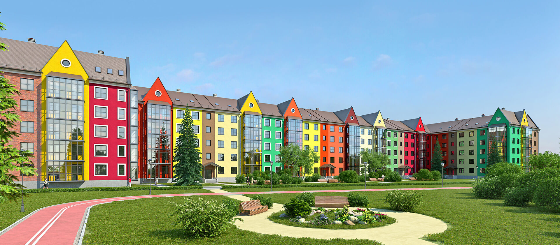 Visualization of an apartment house View of the Dutch style 2 3d