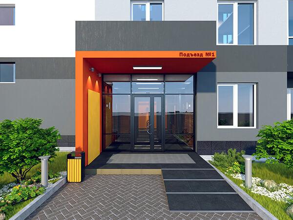 входная группа металлических дверей для подъездов жилого дома