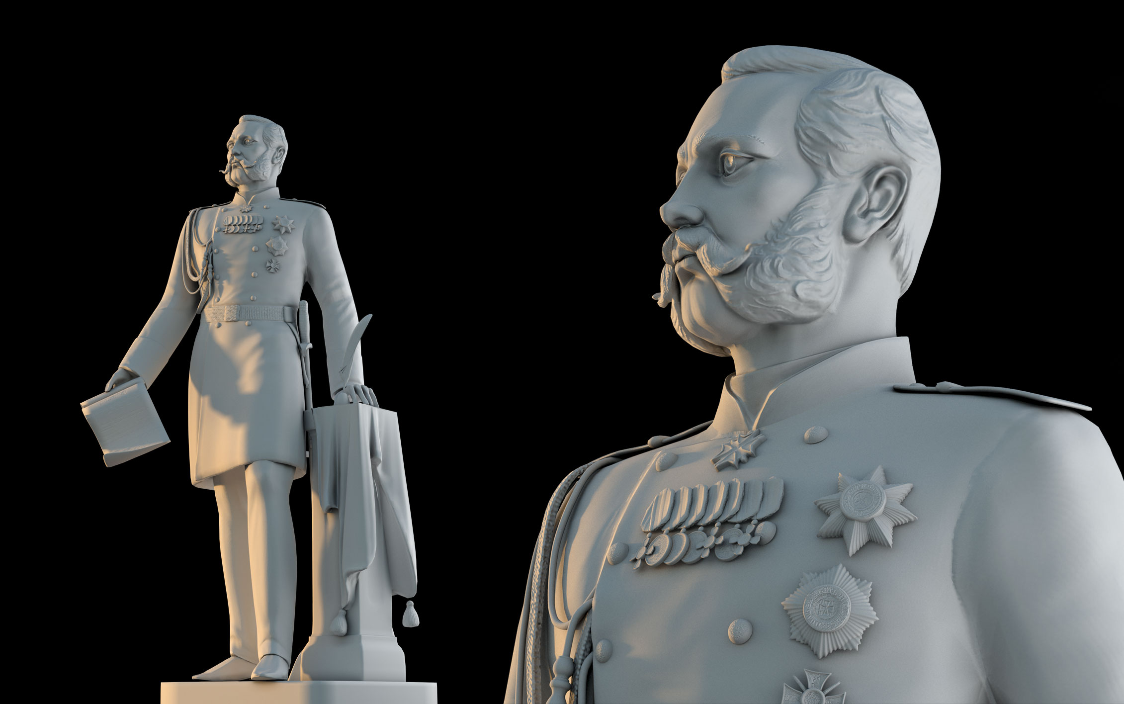 Monument to Emperor Alexander 3d model 2 kinds