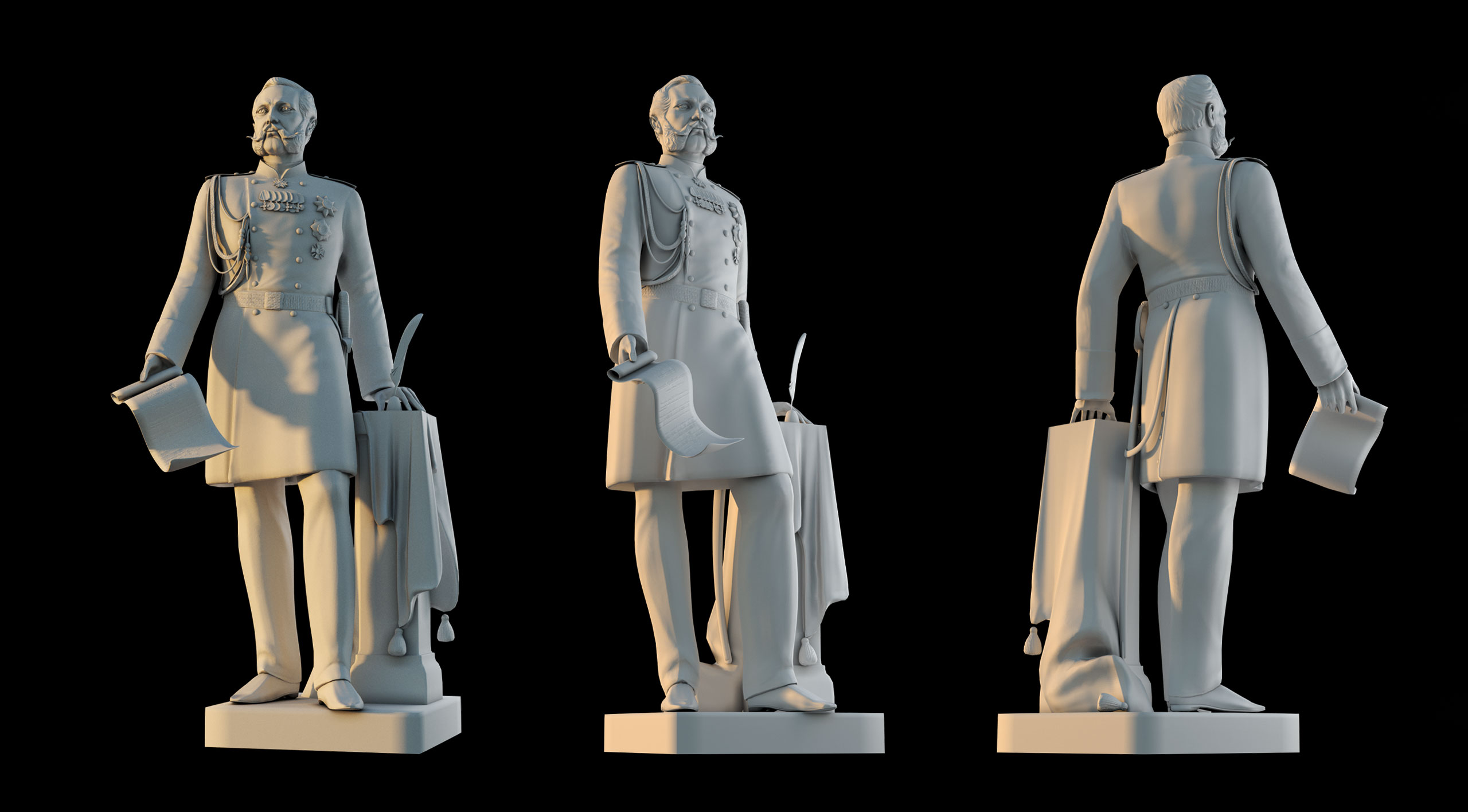 Monument to Emperor Alexander 3d model 3 main angles