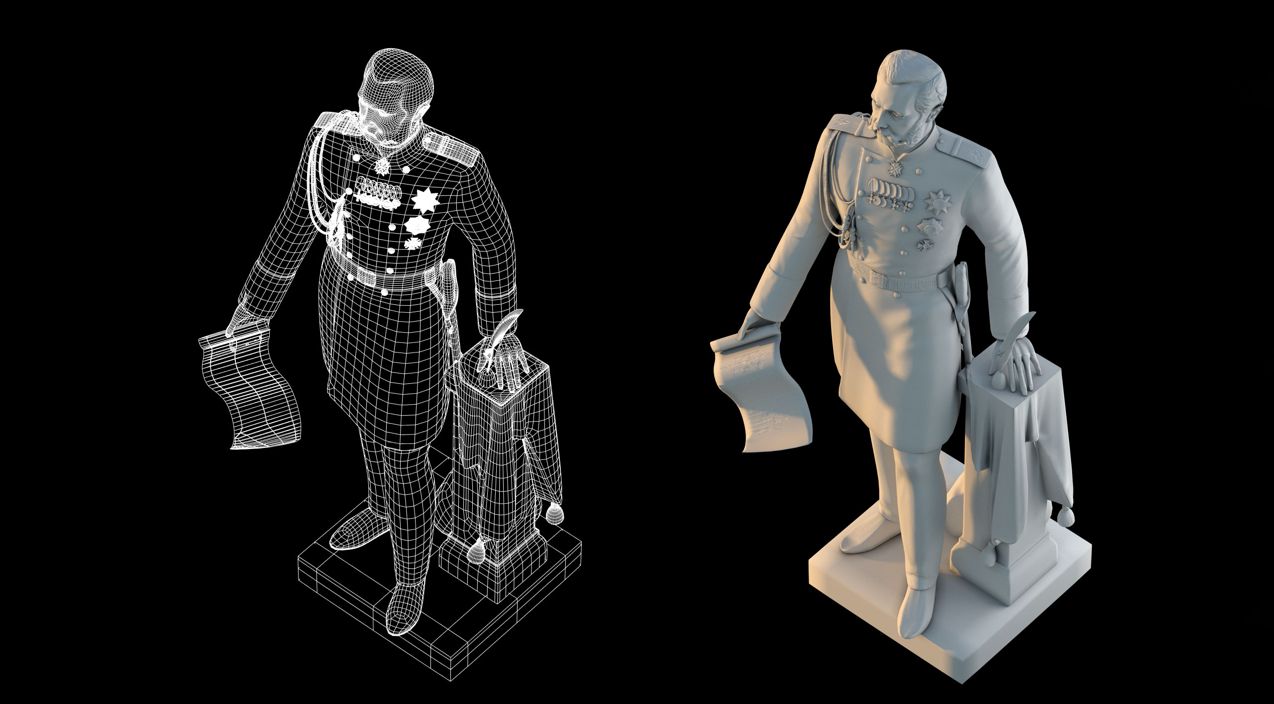 Monument to Emperor Alexander 3d model and its mesh